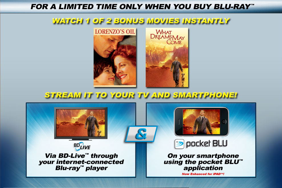 For a limited time only when you buy Blu-Ray